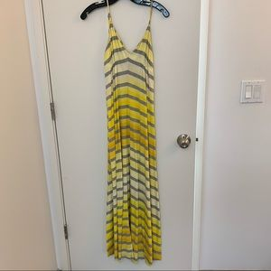 Yellow and gray striped maxi